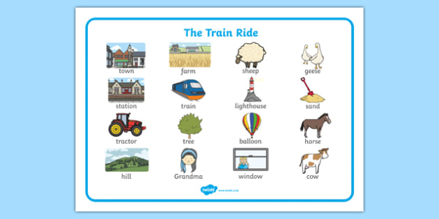 The Train Ride Word Mat (Images) - The Train Ride, June Crebbin, journey, transport, resources, rhyme, rhythm, tractor, story, story book, story book resources, story sequencing, story resources, word mat, writing aid