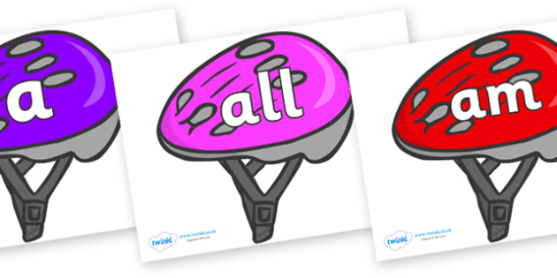 Foundation Stage 2 Keywords on Bike Helmets (Multicolour) - FS2, CLL, keywords, Communication language and literacy,  Display, Key words, high frequency words, foundation stage literacy, DfES Letters and Sounds, Letters and Sounds, spelling