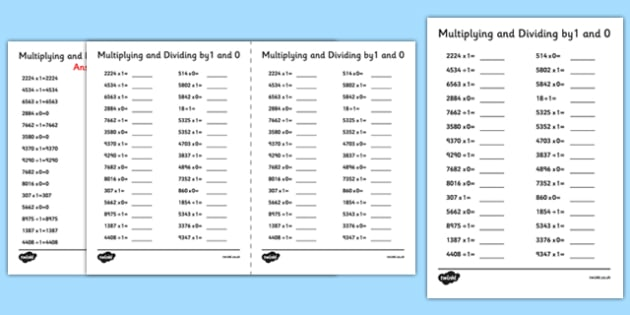 Multiplying and Dividing by 1 and 0 A5 Activity Sheet - multiplying, dividing, by 1, by 0, activity, sheet, worksheet