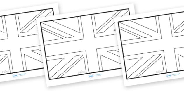 Union Flag Colouring Sheets - union flag, flag, union, Great Britain,United Kingdom, colouring, fine motor skills, poster, worksheet, vines, A4