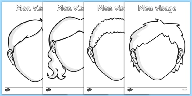 Mon visage Blank Faces Templates French - french, face, features, eye, template, mouth, lips, ourselves, all about me, emotions, feelings, face, faces