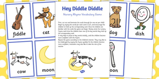 Hey Diddle Diddle Nursery Rhyme Vocabulary Game - nursery rhyme, game