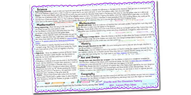 Lesson Plan Ideas KS1 to Support Teaching on Charlie and the Chocolate Factory - charlie and the chocolate factory, lesson plan idea, lesson ideas, lesson planning, teaching plan