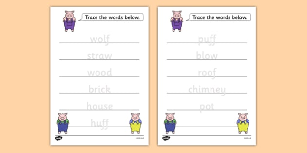 The Three Little Pigs Trace the Words Worksheet - three little pigs, trace the words, worksheet, trace, words