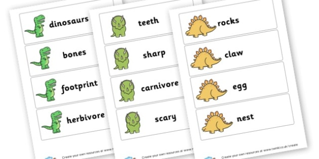 Dinosaur Topic Cards - Dinosaurs Literacy Primary Resources, t-rex, writing, words,