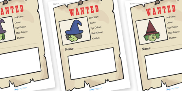 Witch Wanted Poster Writing Frames - Witch Wanted Poster Writing Frames, Witch, wanted poster, wanted, , poster, writing template, writing frames, word cards, flashcards, template, fantasy