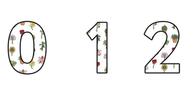 Plants Display Numbers - plants, green plants, plants numbers, plant themed numbers, plants display, plants ks2, living things, living things display, ks2