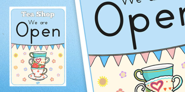 Tea Shop Role Play Open Sign - australia, tea shop, role-play, open sign