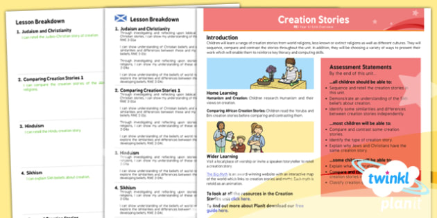 PlanIt - RE Year 6 - Creation Stories CfE Overview