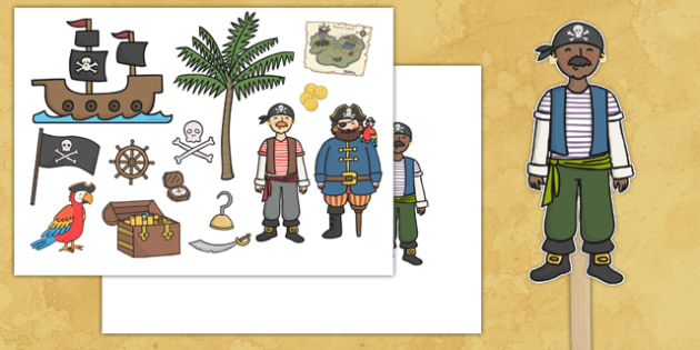 Pirate Stick Puppets - pirate, puppets, role play, small world