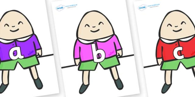 Phase 2 Phonemes on Humpty Dumpty - Phonemes, phoneme, Phase 2, Phase two, Foundation, Literacy, Letters and Sounds, DfES, display