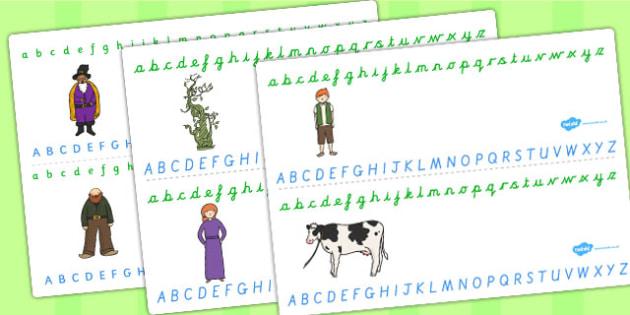 Jack and the Beanstalk Alphabet Strips - alphabet, strips, jack