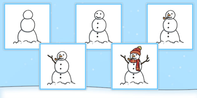 5 Step Sequencing Cards Building A Snowman - Sequencing, Snowman