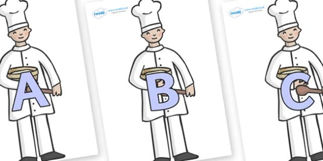 A-Z Alphabet on Bakers - A-Z, A4, display, Alphabet frieze, Display letters, Letter posters, A-Z letters, Alphabet flashcards