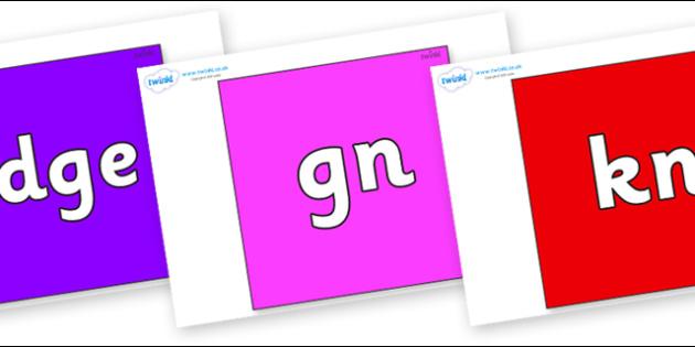 Silent Letters on Squares - Silent Letters, silent letter, letter blend, consonant, consonants, digraph, trigraph, A-Z letters, literacy, alphabet, letters, alternative sounds