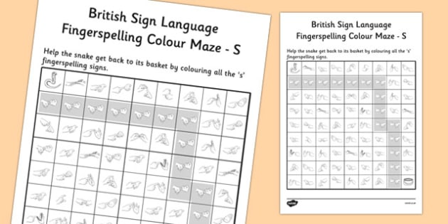 British Sign Language Fingerspelling Colour Maze S - colour, maze