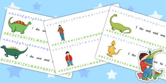 Alphabet Strips to Support Teaching on Harry and the Bucketful of Dinosaurs - alphabet