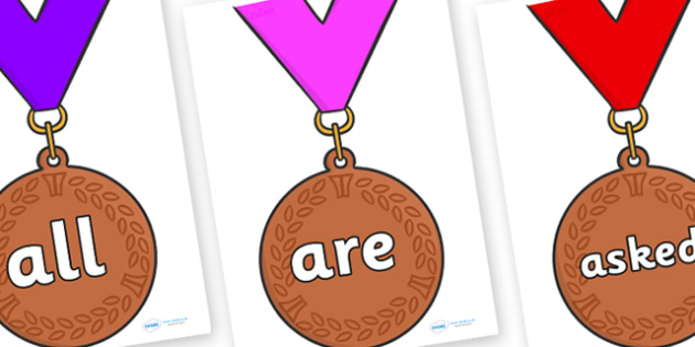 Tricky Words on Bronze Medals - Tricky words, DfES Letters and Sounds, Letters and sounds, display, words