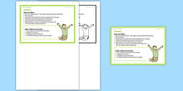 Jumping Teacher Support Card - EYFS, PE, Physical Development