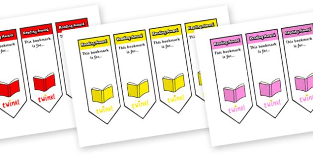 Editable Reading Award Bookmarks - Bookmark, literacy, gift,  present, book, reading, reward, achievement