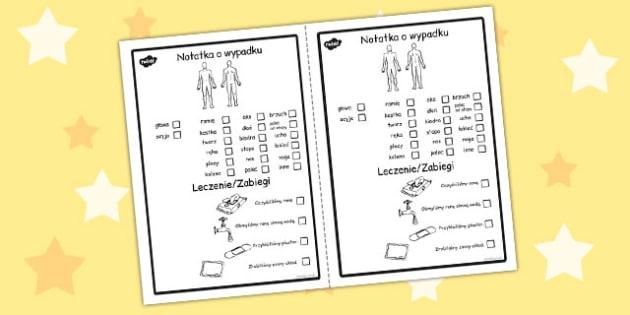 Formularz wypadkow w szkole po polsku - do pobrania , Polish