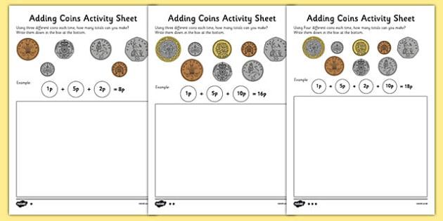 Adding Coins Worksheet - coins, money, money worksheet, money addition worksheet, coins addition worksheet, addition with coins, ks2 addition