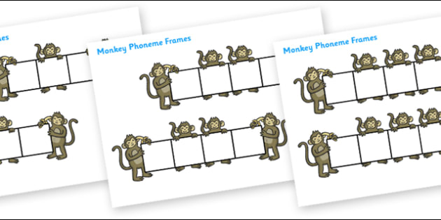 Monkey Phoneme Frames - Phoneme Frames printable, seaside, sea, beach, phoneme frame, phoneme, phonemes, Segmenting, DfES Letters and Sounds, Letters and sounds, KS1 Literacy, Phase one, Phase 1, Phase two, Phase 2, Phase three, Phase 3