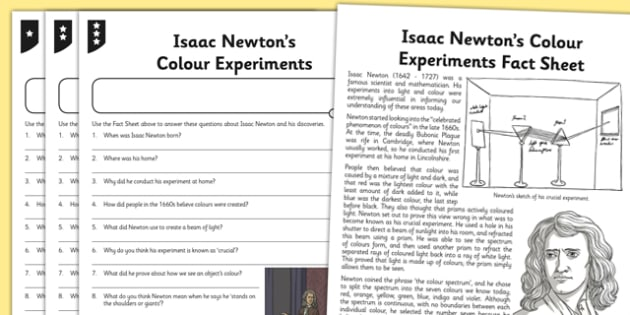 Activity Sheet Isaac Newton Differentiated Reading Comprehension Activity - isaac newton, comprehension, worksheet