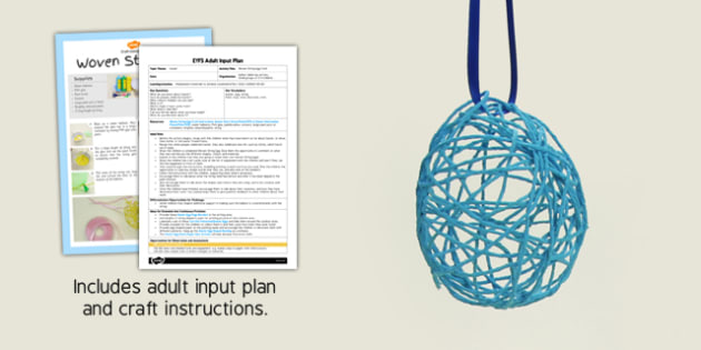 Woven String Egg Craft EYFS Adult Input Plan And Craft Pack - craft