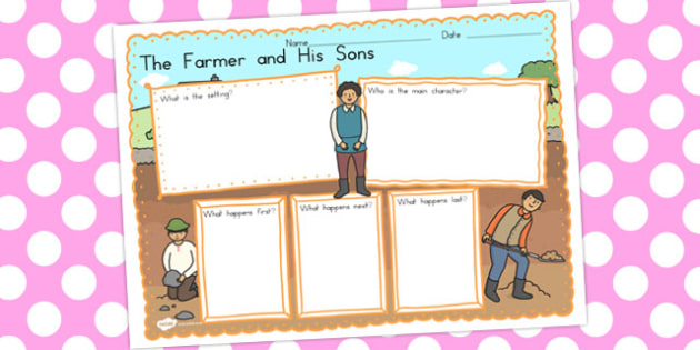 The Farmer and His Sons Book Review Writing Frame - australia