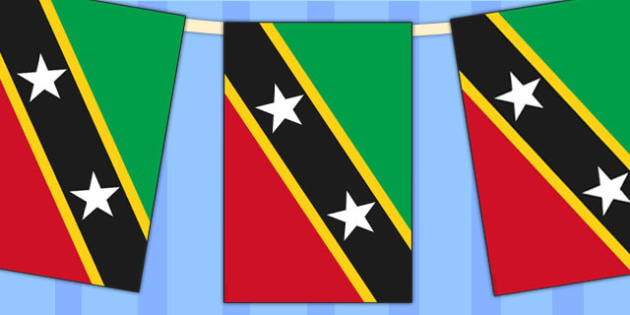 St Christopher and Nevis Flag Display Bunting - countries, flags