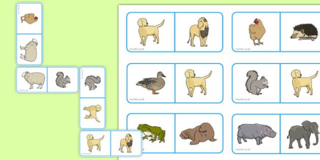 Animal Dominoes - animal, dominoes, game, activity, class, domino