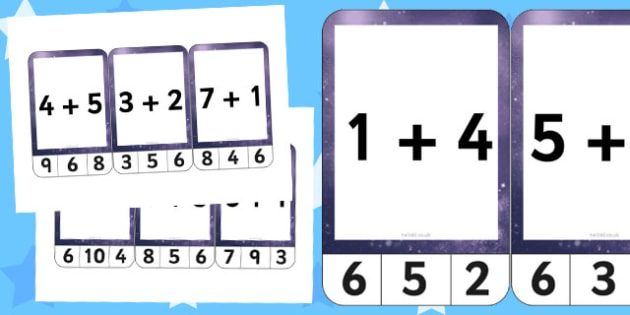 Space Themed Addition to 10 Peg Activity - space, addition, 10, peg, activity