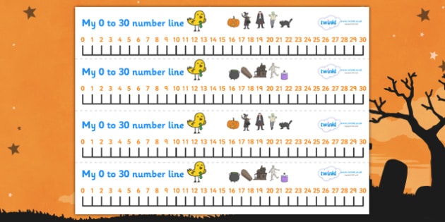 Number Line 0-30 (Halloween) - Number Lines 0-30, Counting, 0, 30, Numberline, Number line, Counting on, Counting back, Foundation Numeracy Halloween, pumpkin , witch, bat, scary, black cat, mummy, grave stone, cauldron, broomstick, haunted house, po