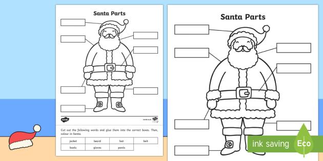 Christmas Santa Parts Activity Sheet