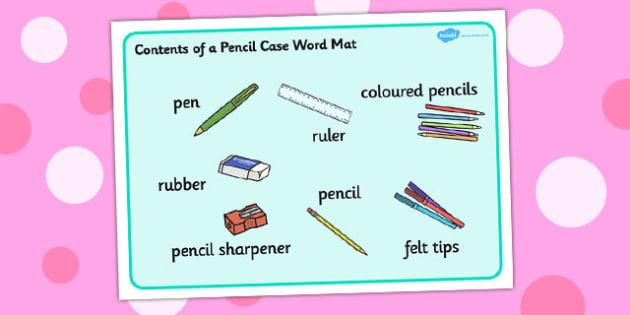 Contents of a Pencil Case Word Mat - contents, pencil case, mat
