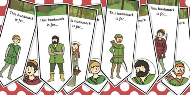 Robin Hood Editable Bookmarks - robin hood, bookmarks, hood