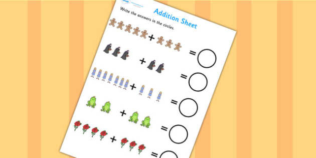 Traditional Tales Themed Addition Worksheet - traditional tales, addition, worksheet, addition worksheet, adding, plus, maths, numeracy, numbers