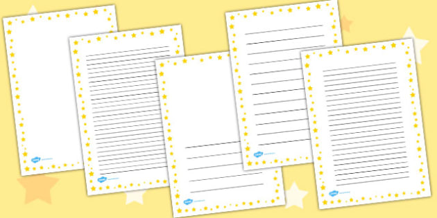 Yellow Star Portrait Page Borders - star, page, borders, yellow