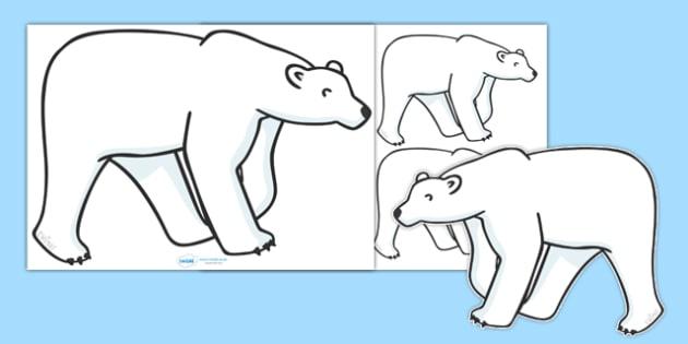 Editable Polar Bear (A4) - Polar Bear, bear, white, A4, bears, Ice, Arctic, cold, snow, animal, animals, wild
