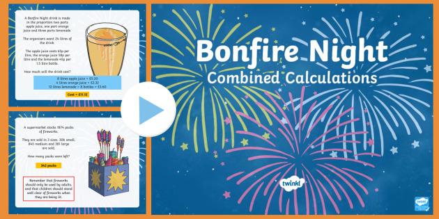 UKS2 Combined Calculations Bonfire Night PowerPoint
