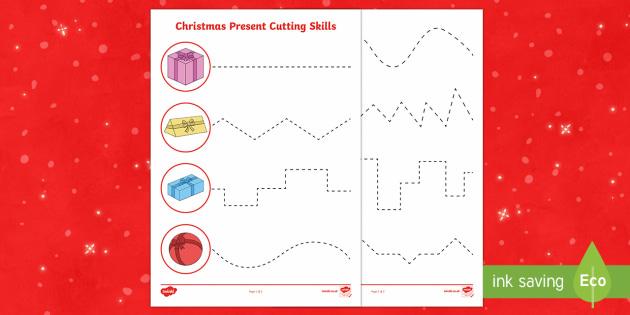 Christmas Present Cutting Skills Activity Sheet