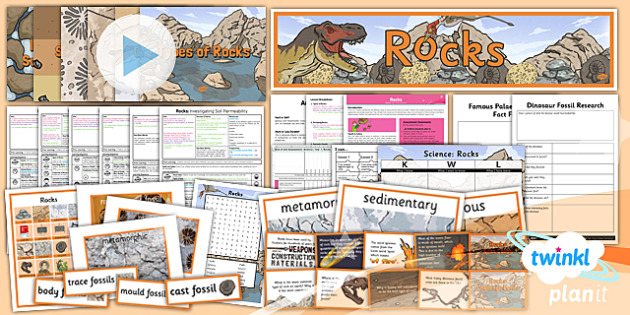 PlanIt Science Year 3 Rocks Unit Pack - topic, planning, information, ks2, key stage 2, lks2, science, national curriculum, uluru, resources, display, anning, dinosaurs, fossils, comparing, investigation,