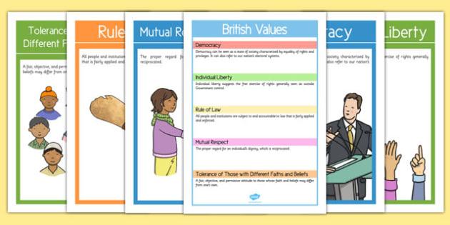 British Values Display Posters Pack - british values, display poster, display, poster, pack