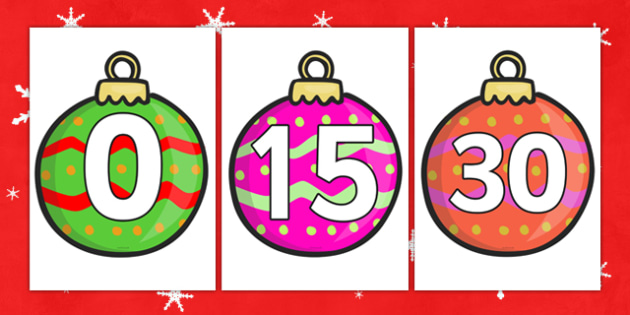 Numbers 0-30 on Baubles - Christmas, xmas, bauble, advent, nativity, santa, father christmas, Jesus, tree, stocking, present, activity, cracker, angel, snowman, advent , bauble, Foundation Numeracy, Number recognition, Number flashcards, 0-30, A4, di