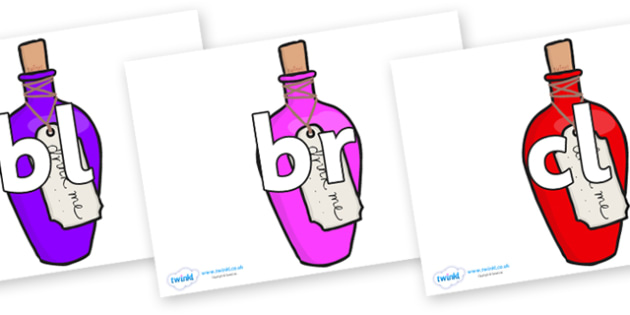 Initial Letter Blends on Drink Me Bottles - Initial Letters, initial letter, letter blend, letter blends, consonant, consonants, digraph, trigraph, literacy, alphabet, letters, foundation stage literacy
