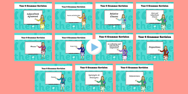 Year 6 Grammar Revision Guide and Quick Quiz PowerPoint Pack - year 6, grammar, revision guide, quick quiz, pack, powerpoint, presentation, activity, revision session, revise