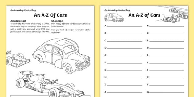 An A-Z of Cars Activity Sheet, worksheet