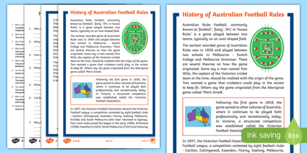 History of AFL  Comprehension Challenge Sheet-Australia