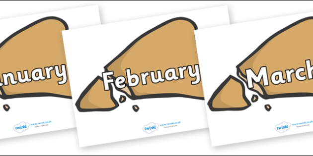 Months of the Year on Egyptian Flatbread - Months of the Year, Months poster, Months display, display, poster, frieze, Months, month, January, February, March, April, May, June, July, August, September